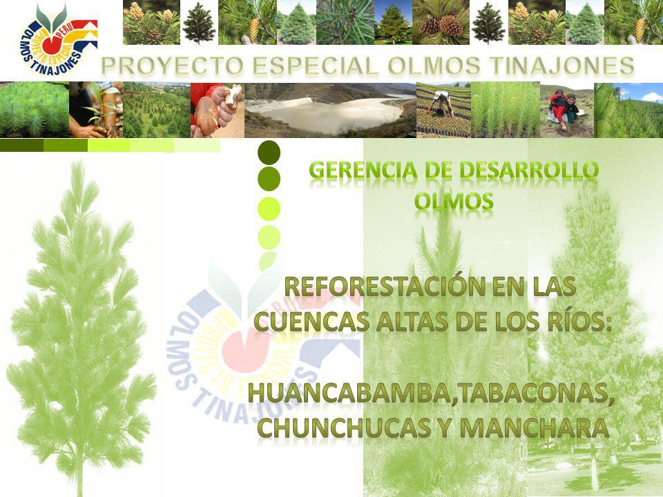 El Proyecto Especial Olmos Tinajones (PEOT), en la preocupación por el uso, manejo apropiado y sostenible de los recursos en las cuencas altas viene implementando a través de la Gerencia de Desarrollo Olmos (GDO) desde el 2008 acciones socioambientales en la gestión, manejo ambiental integrado con un plan de reforestación con especies forestales nativas y exóticas, para la sostenibilidad del recurso hídrico en las partes altas de las cuencas, de los Ríos Huancabamba, Tabaconas, Chunchucas y Manchara.