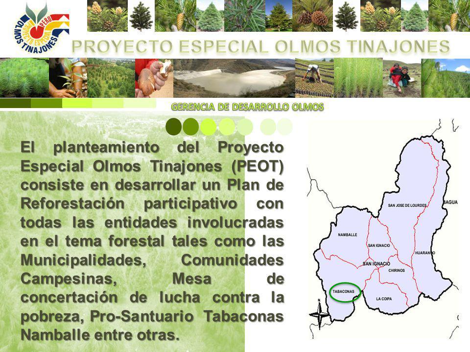 El planteamiento del Proyecto Especial Olmos Tinajones (PEOT) consiste en desarrollar un Plan de Reforestación participativo con todas las entidades i