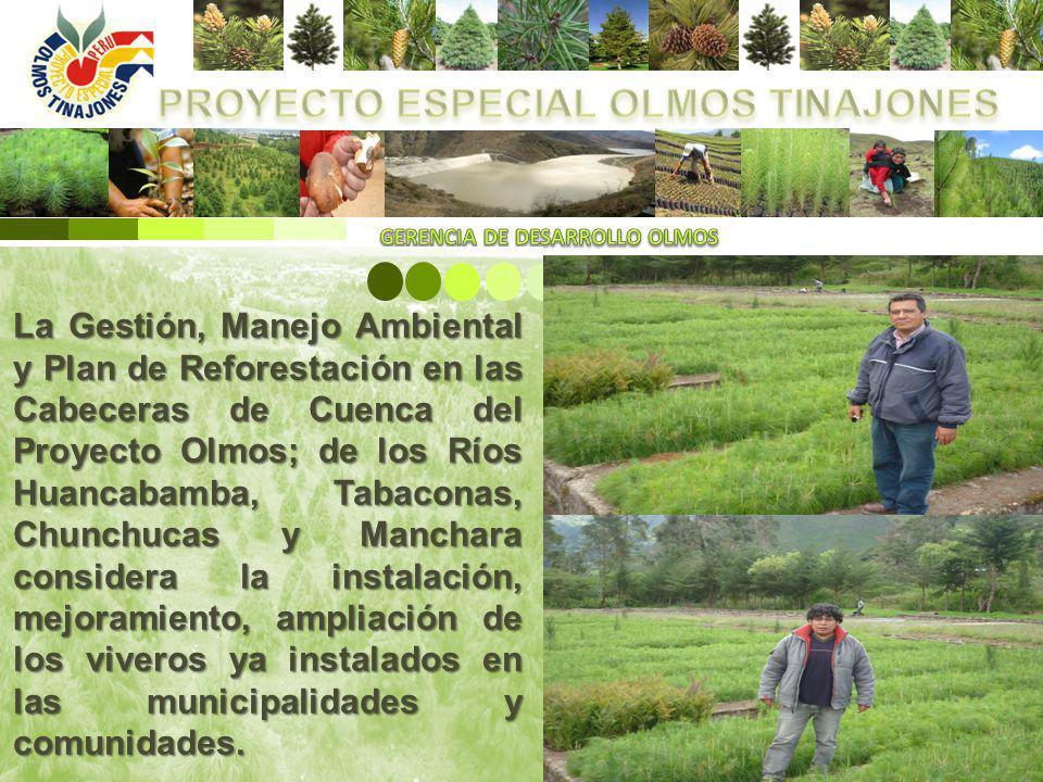 La Gestión, Manejo Ambiental y Plan de Reforestación en las Cabeceras de Cuenca del Proyecto Olmos; de los Ríos Huancabamba, Tabaconas, Chunchucas y M