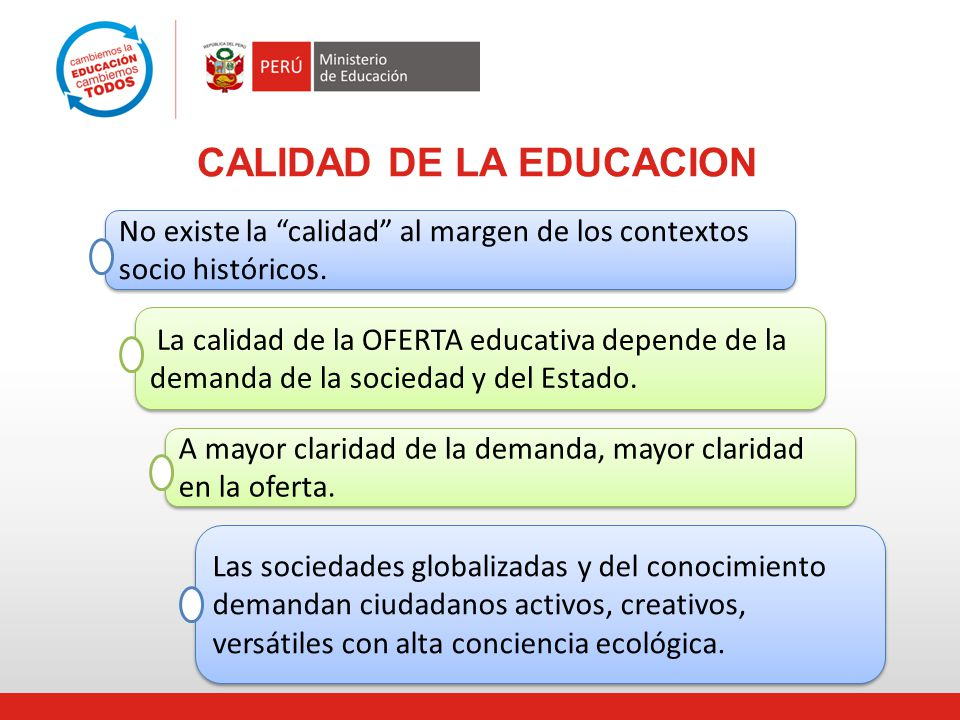 CALIDAD DE LA EDUCACION No existe la calidad al margen de los contextos socio históricos. La calidad de la OFERTA educativa depende de la demanda de l