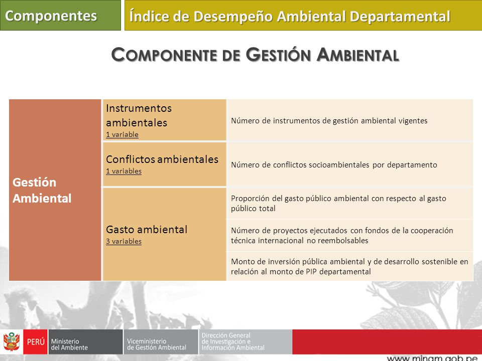 Gestión Ambiental Instrumentos ambientales 1 variable Número de instrumentos de gestión ambiental vigentes Conflictos ambientales 1 variables Número d