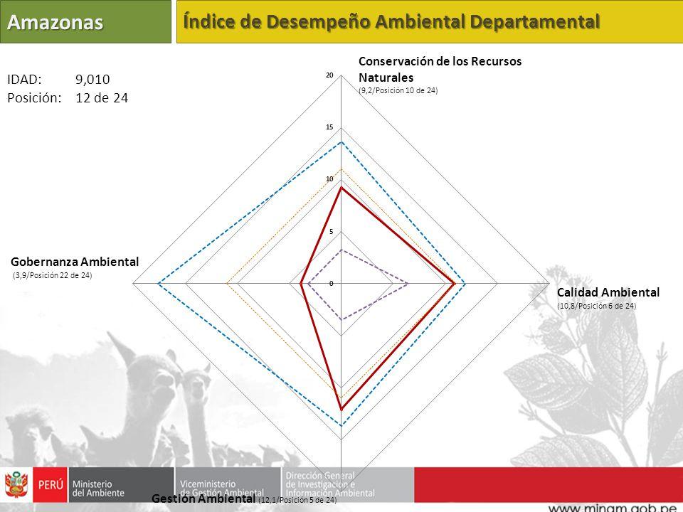 Amazonas Índice de Desempeño Ambiental Departamental Conservación de los Recursos Naturales (9,2/Posición 10 de 24) Calidad Ambiental (10,8/Posición 6 de 24) Gestión Ambiental (12,1/Posición 5 de 24) Gobernanza Ambiental (3,9/Posición 22 de 24) IDAD: 9,010 Posición: 12 de 24