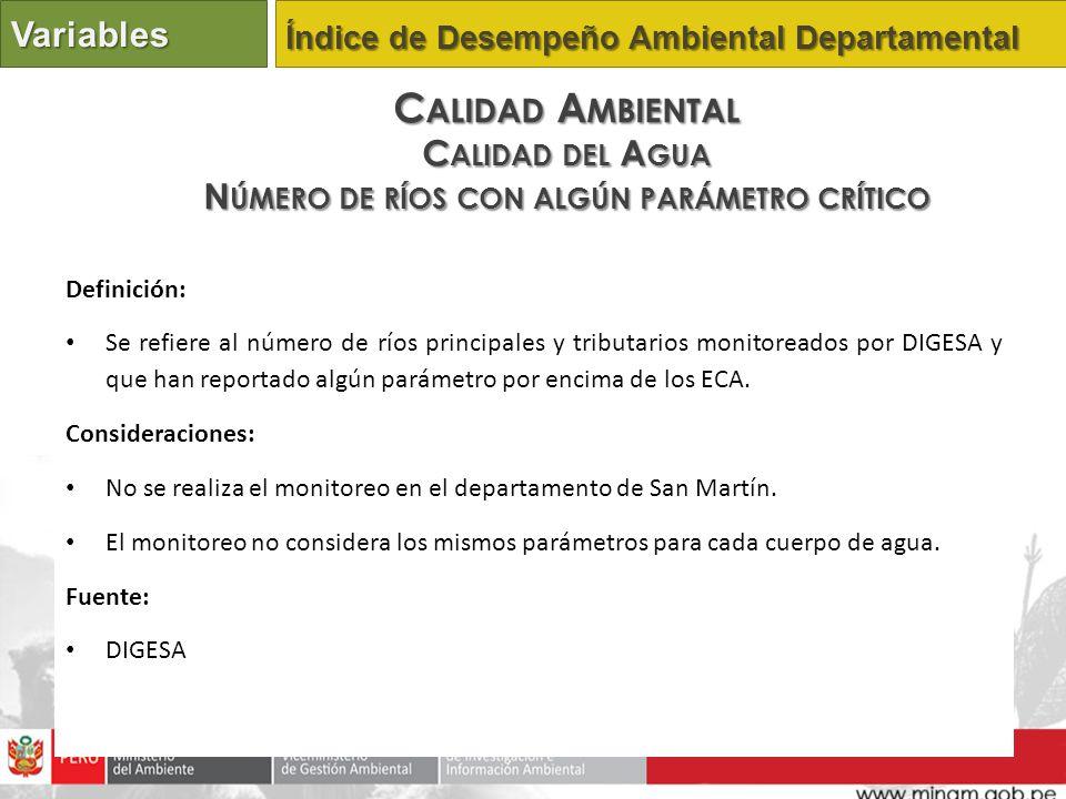 Definición: Se refiere al número de ríos principales y tributarios monitoreados por DIGESA y que han reportado algún parámetro por encima de los ECA.