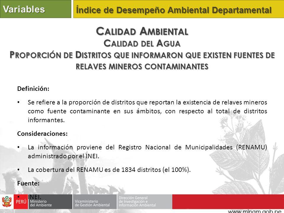 Definición: Se refiere a la proporción de distritos que reportan la existencia de relaves mineros como fuente contaminante en sus ámbitos, con respecto al total de distritos informantes.
