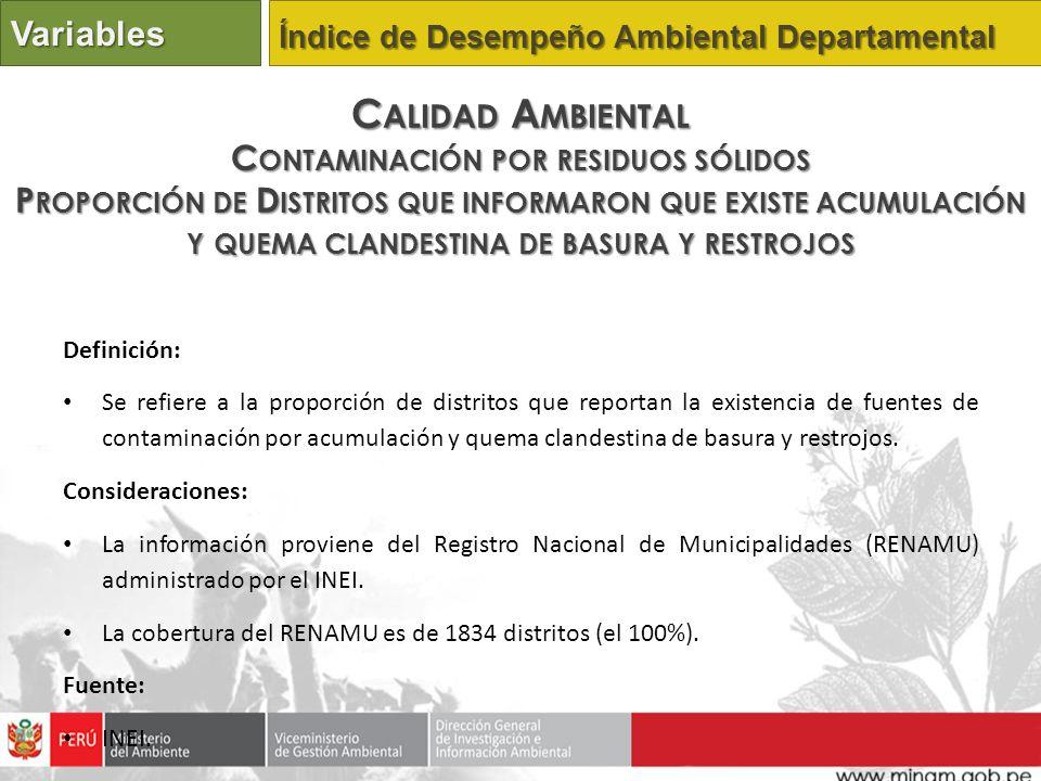 Definición: Se refiere a la proporción de distritos que reportan la existencia de fuentes de contaminación por acumulación y quema clandestina de basu