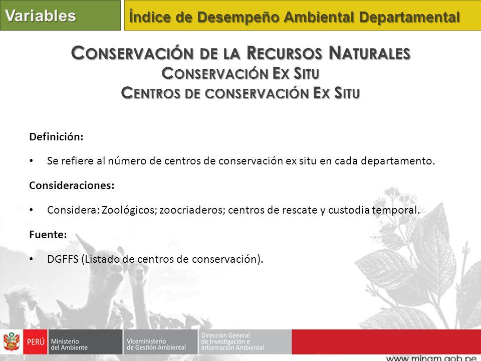 Definición: Se refiere al número de centros de conservación ex situ en cada departamento. Consideraciones: Considera: Zoológicos; zoocriaderos; centro