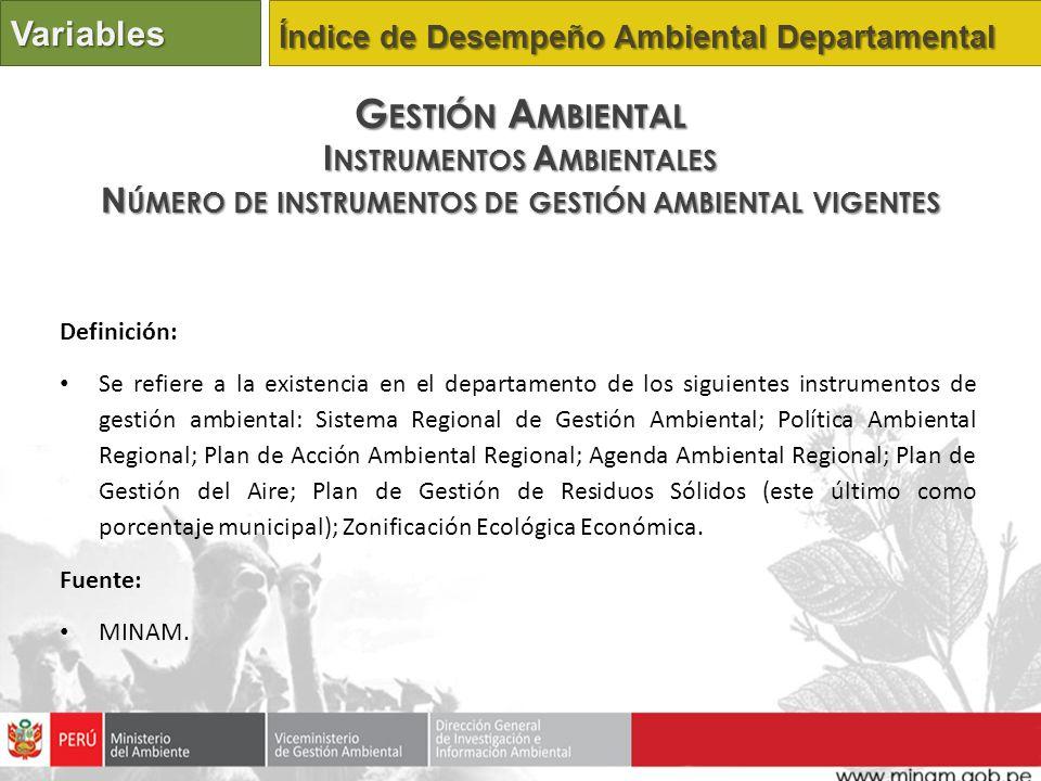 Definición: Se refiere a la existencia en el departamento de los siguientes instrumentos de gestión ambiental: Sistema Regional de Gestión Ambiental;