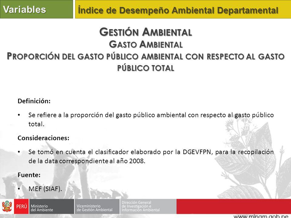Definición: Se refiere a la proporción del gasto público ambiental con respecto al gasto público total. Consideraciones: Se tomó en cuenta el clasific