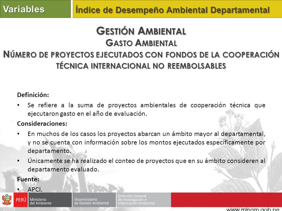 Definición: Se refiere a la suma de proyectos ambientales de cooperación técnica que ejecutaron gasto en el año de evaluación. Consideraciones: En muc