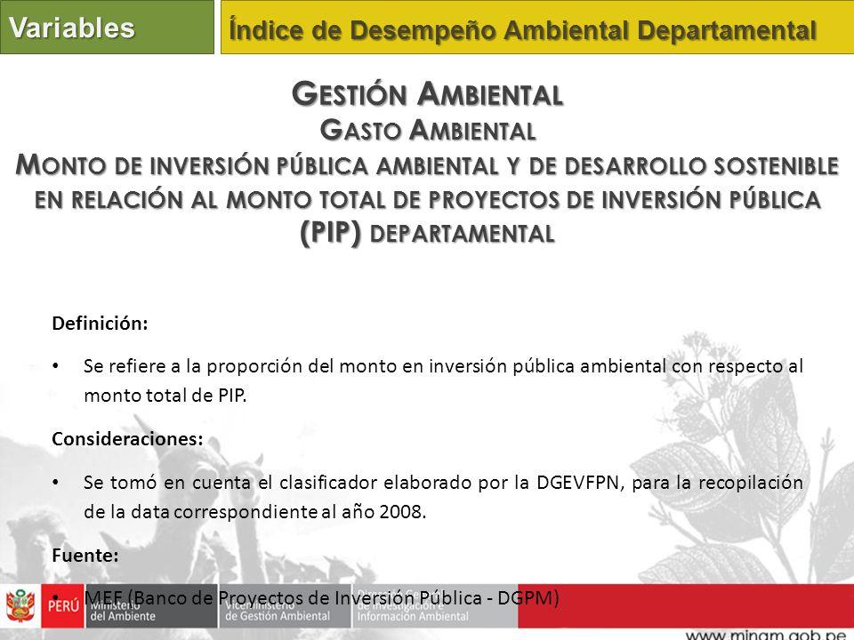 Definición: Se refiere a la proporción del monto en inversión pública ambiental con respecto al monto total de PIP. Consideraciones: Se tomó en cuenta