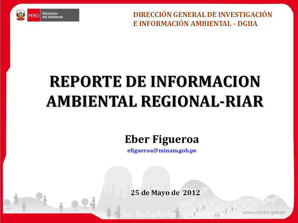 25 de Mayo de 2012 REPORTE DE INFORMACION AMBIENTAL REGIONAL-RIAR DIRECCIÓN GENERAL DE INVESTIGACIÓN E INFORMACIÓN AMBIENTAL - DGIIA Eber Figueroa efigueroa@minam.gob.pe