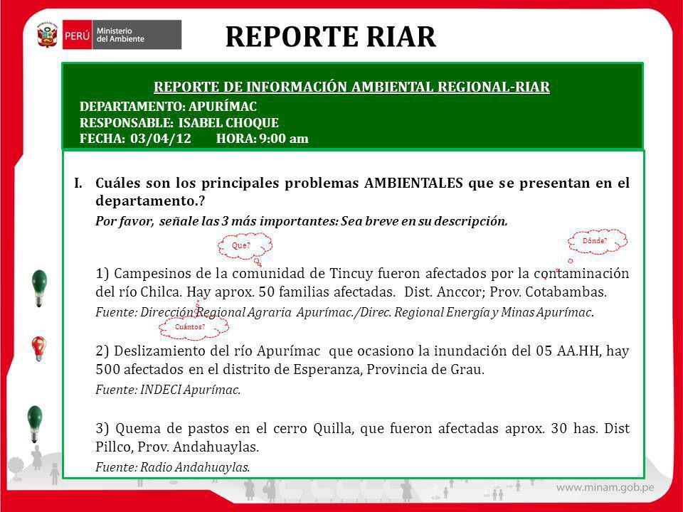 REPORTE RIAR REPORTE DE INFORMACIÓN AMBIENTAL REGIONAL-RIAR I.Cuáles son los principales problemas AMBIENTALES que se presentan en el departamento.? P