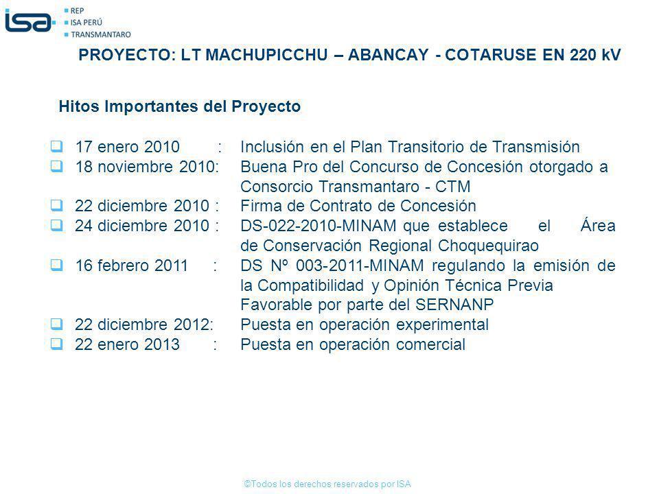 ©Todos los derechos reservados por ISA 17 enero 2010 : Inclusión en el Plan Transitorio de Transmisión 18 noviembre 2010:Buena Pro del Concurso de Con