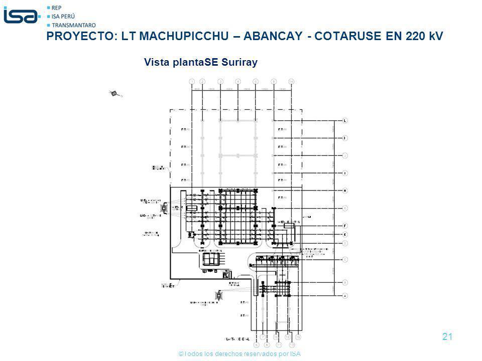 ©Todos los derechos reservados por ISA 21 Vista plantaSE Suriray PROYECTO: LT MACHUPICCHU – ABANCAY - COTARUSE EN 220 kV