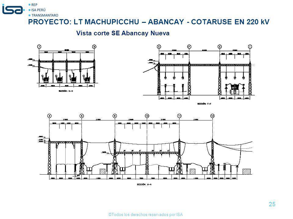 ©Todos los derechos reservados por ISA 25 Vista corte SE Abancay Nueva PROYECTO: LT MACHUPICCHU – ABANCAY - COTARUSE EN 220 kV