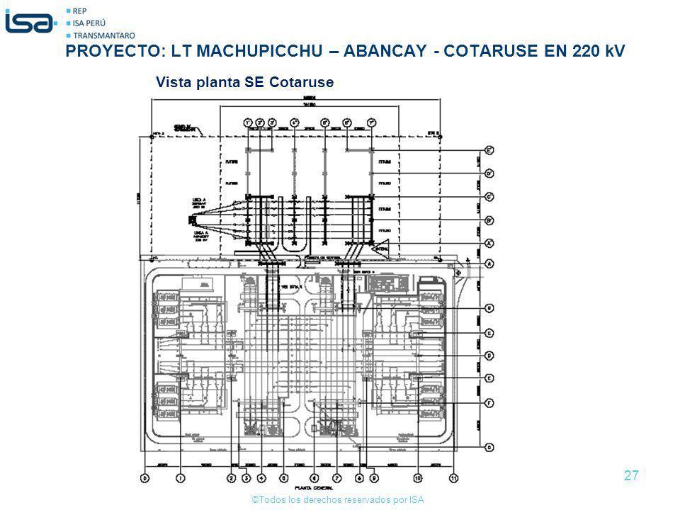 ©Todos los derechos reservados por ISA 27 Vista planta SE Cotaruse PROYECTO: LT MACHUPICCHU – ABANCAY - COTARUSE EN 220 kV