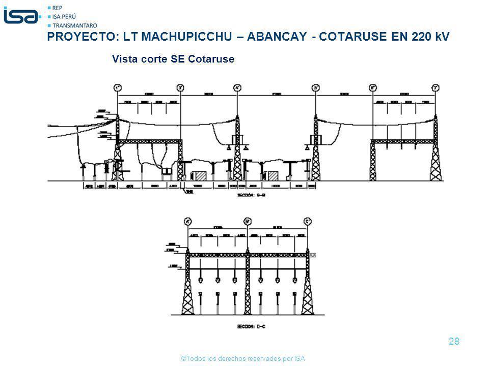 ©Todos los derechos reservados por ISA 28 Vista corte SE Cotaruse PROYECTO: LT MACHUPICCHU – ABANCAY - COTARUSE EN 220 kV