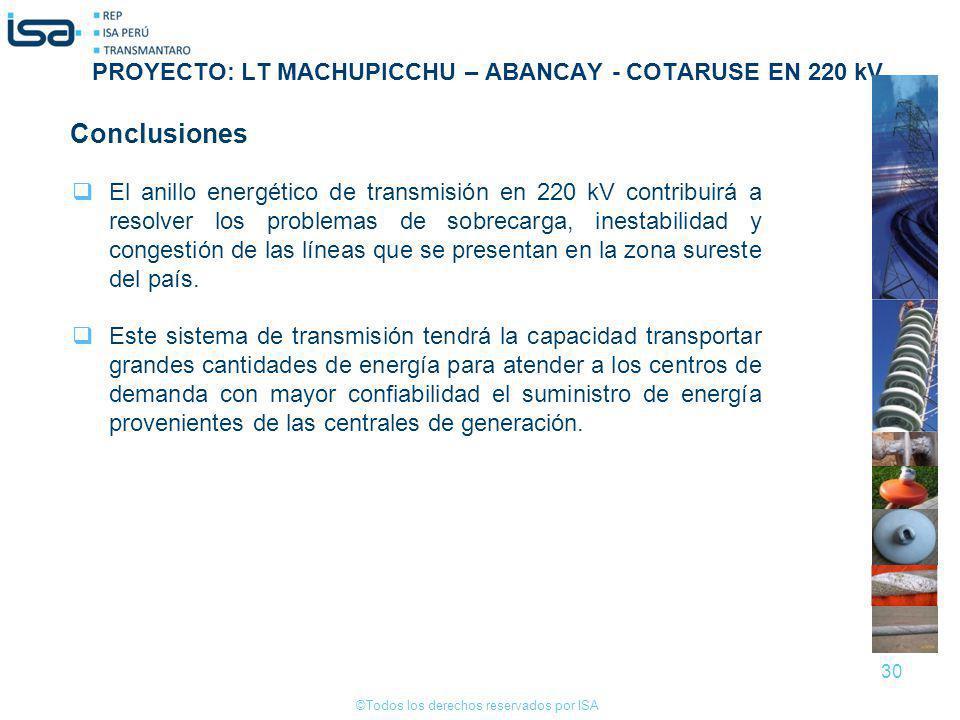 ©Todos los derechos reservados por ISA 30 Conclusiones El anillo energético de transmisión en 220 kV contribuirá a resolver los problemas de sobrecarg
