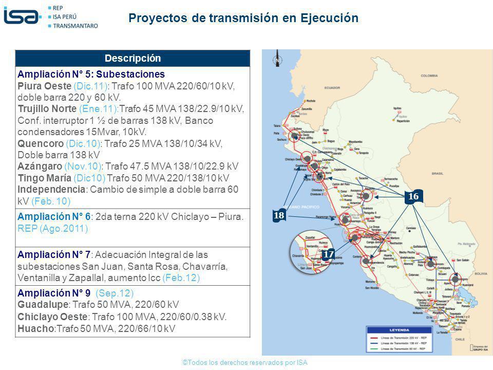 ©Todos los derechos reservados por ISA 16 Descripción Ampliación N° 5: Subestaciones Piura Oeste (Dic.11): Trafo 100 MVA 220/60/10 kV, doble barra 220
