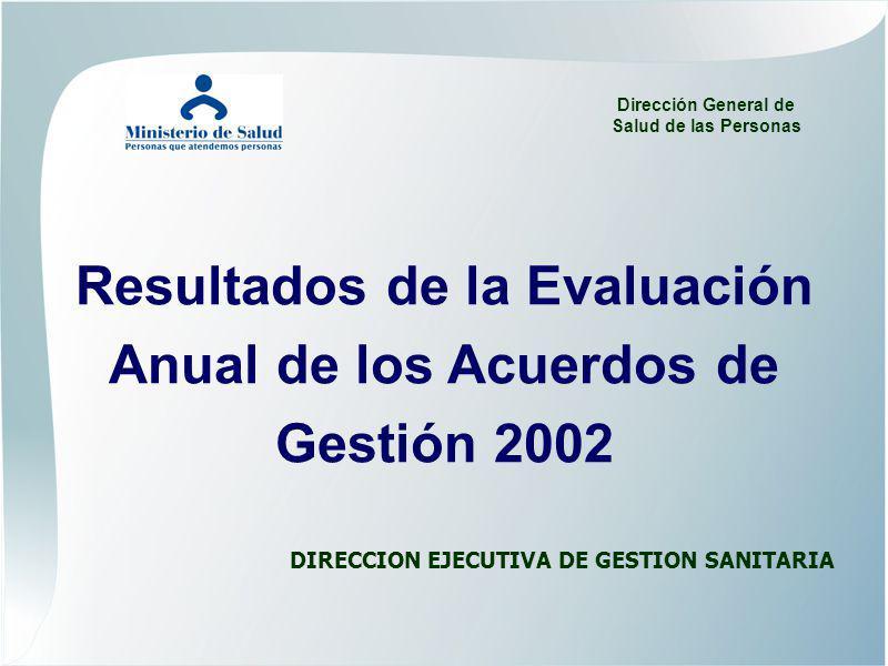 Resultados de la Evaluación Anual de los Acuerdos de Gestión 2002 DIRECCION EJECUTIVA DE GESTION SANITARIA Dirección General de Salud de las Personas