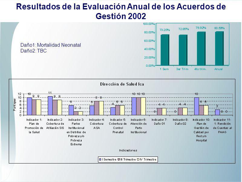 Daño1: Mortalidad Neonatal Daño2: TBC Resultados de la Evaluación Anual de los Acuerdos de Gestión 2002