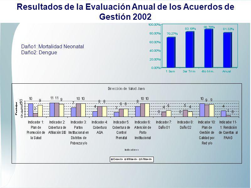 Daño1: Mortalidad Neonatal Daño2: Dengue Resultados de la Evaluación Anual de los Acuerdos de Gestión 2002