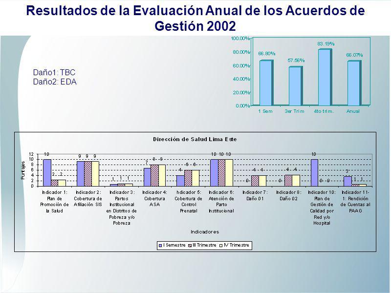 Daño1: TBC Daño2: EDA Resultados de la Evaluación Anual de los Acuerdos de Gestión 2002