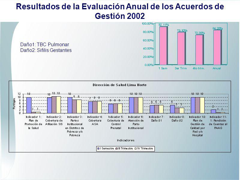 Daño1: TBC Pulmonar Daño2: Sifilis Gestantes Resultados de la Evaluación Anual de los Acuerdos de Gestión 2002