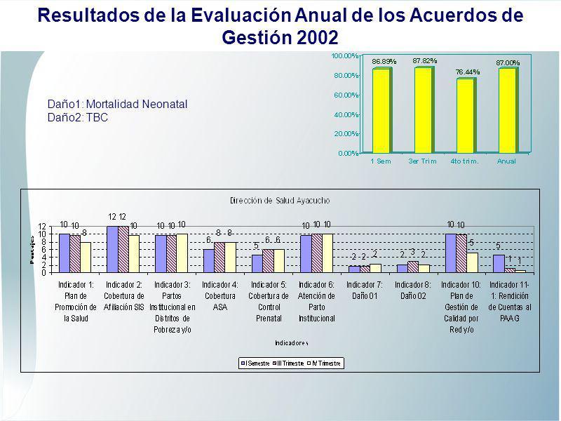 Daño1: Hidatidosis Daño2: Mortalidad Neonatal Resultados de la Evaluación Anual de los Acuerdos de Gestión 2002