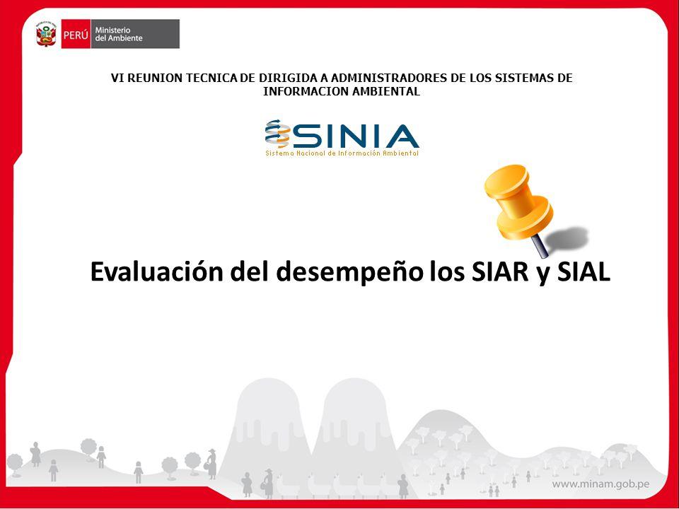 Evaluación del desempeño los SIAR y SIAL VI REUNION TECNICA DE DIRIGIDA A ADMINISTRADORES DE LOS SISTEMAS DE INFORMACION AMBIENTAL