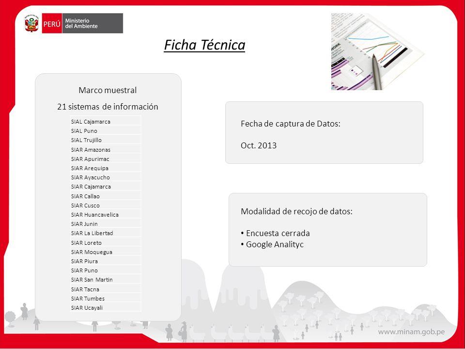 21 sistemas de información Marco muestral Ficha Técnica Fecha de captura de Datos: Oct. 2013 Modalidad de recojo de datos: Encuesta cerrada Google Ana