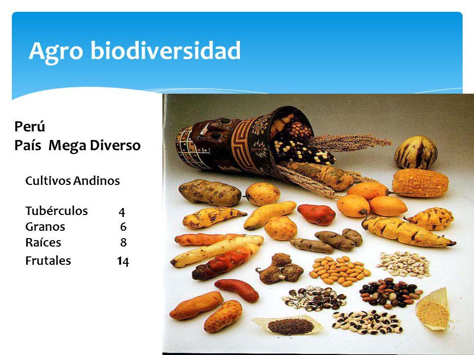 Agro biodiversidad Perú País Mega Diverso Cultivos Andinos Tubérculos 4 Granos6 Raíces 8 Frutales 1 4