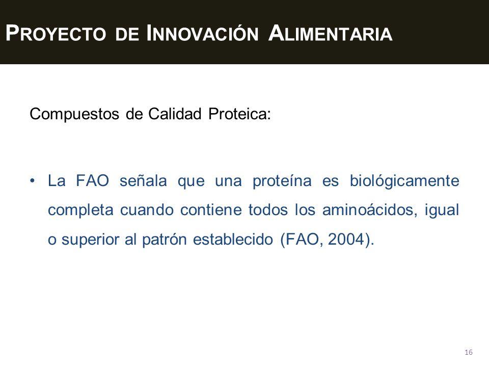 P ROYECTO DE I NNOVACIÓN A LIMENTARIA 16 Compuestos de Calidad Proteica: La FAO señala que una proteína es biológicamente completa cuando contiene todos los aminoácidos, igual o superior al patrón establecido (FAO, 2004).