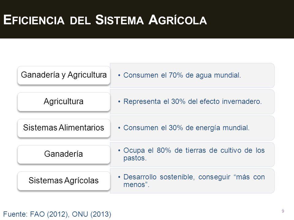 E FICIENCIA DEL S ISTEMA A GRÍCOLA 9 Consumen el 70% de agua mundial. Ganadería y Agricultura Representa el 30% del efecto invernadero. Agricultura Co