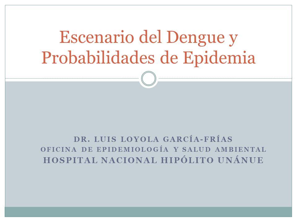 DR. LUIS LOYOLA GARCÍA-FRÍAS OFICINA DE EPIDEMIOLOGÍA Y SALUD AMBIENTAL HOSPITAL NACIONAL HIPÓLITO UNÁNUE Escenario del Dengue y Probabilidades de Epi