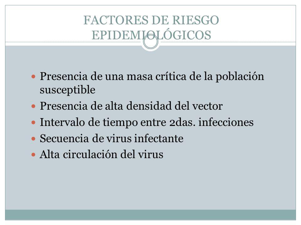 FACTORES DE RIESGO EPIDEMIOLÓGICOS Presencia de una masa crítica de la población susceptible Presencia de alta densidad del vector Intervalo de tiempo