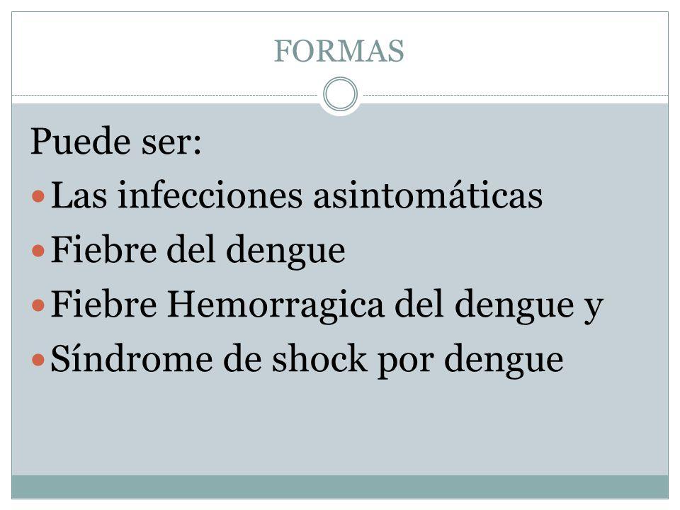 FORMAS Puede ser: Las infecciones asintomáticas Fiebre del dengue Fiebre Hemorragica del dengue y Síndrome de shock por dengue