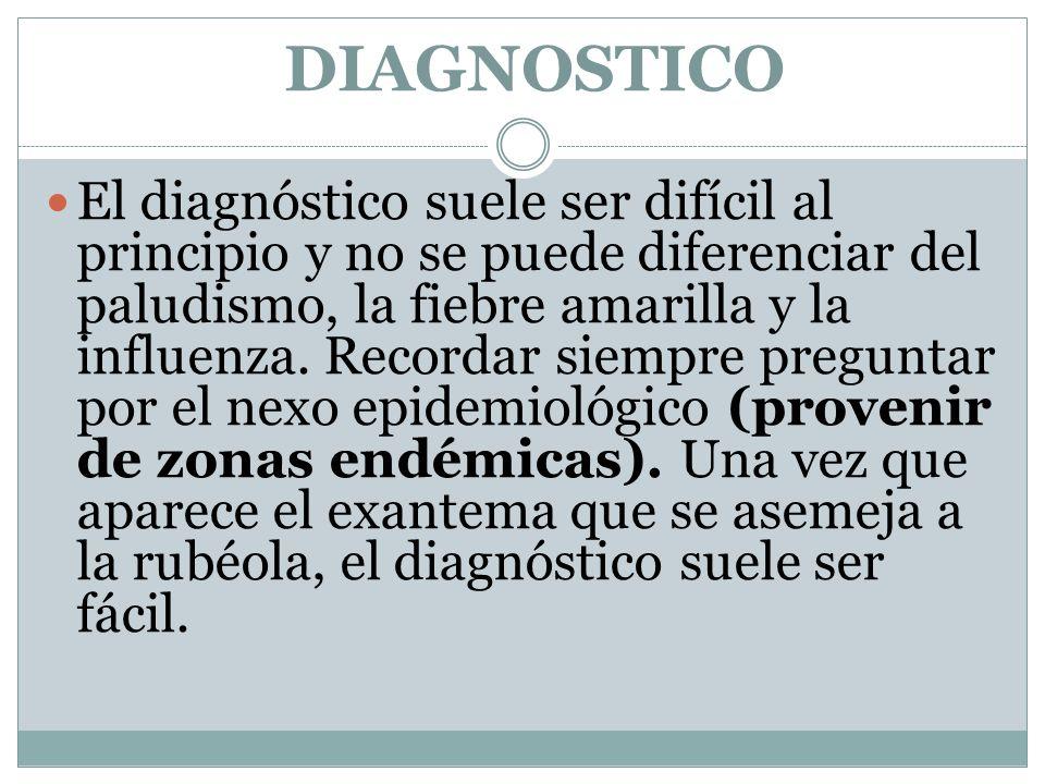DIAGNOSTICO El diagnóstico suele ser difícil al principio y no se puede diferenciar del paludismo, la fiebre amarilla y la influenza. Recordar siempre