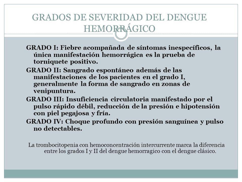 GRADOS DE SEVERIDAD DEL DENGUE HEMORRÁGICO GRADO I: Fiebre acompañada de síntomas inespecíficos, la única manifestación hemorrágica es la prueba de to