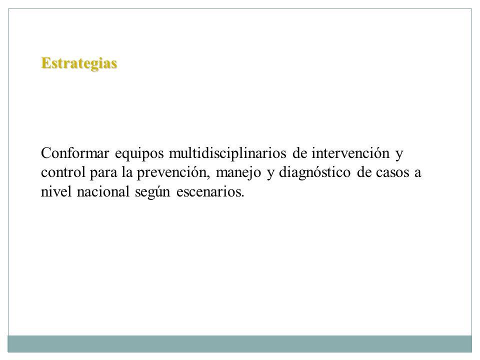 Estrategias Conformar equipos multidisciplinarios de intervención y control para la prevención, manejo y diagnóstico de casos a nivel nacional según e