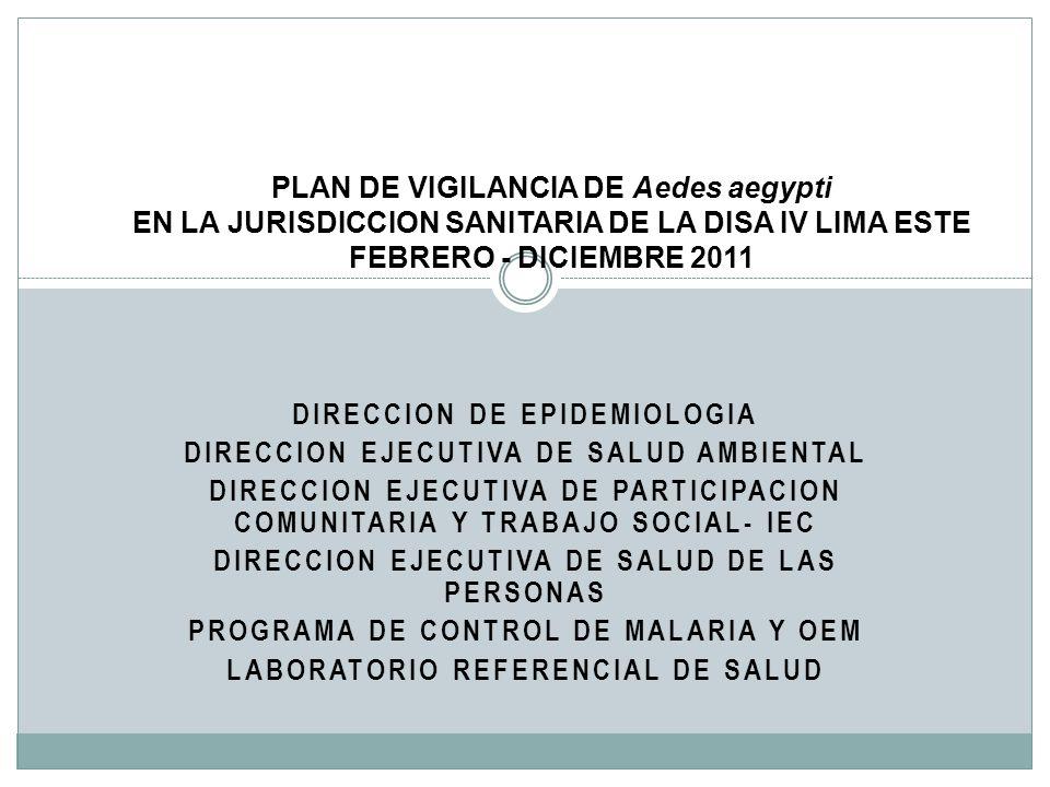 DIRECCION DE EPIDEMIOLOGIA DIRECCION EJECUTIVA DE SALUD AMBIENTAL DIRECCION EJECUTIVA DE PARTICIPACION COMUNITARIA Y TRABAJO SOCIAL- IEC DIRECCION EJE