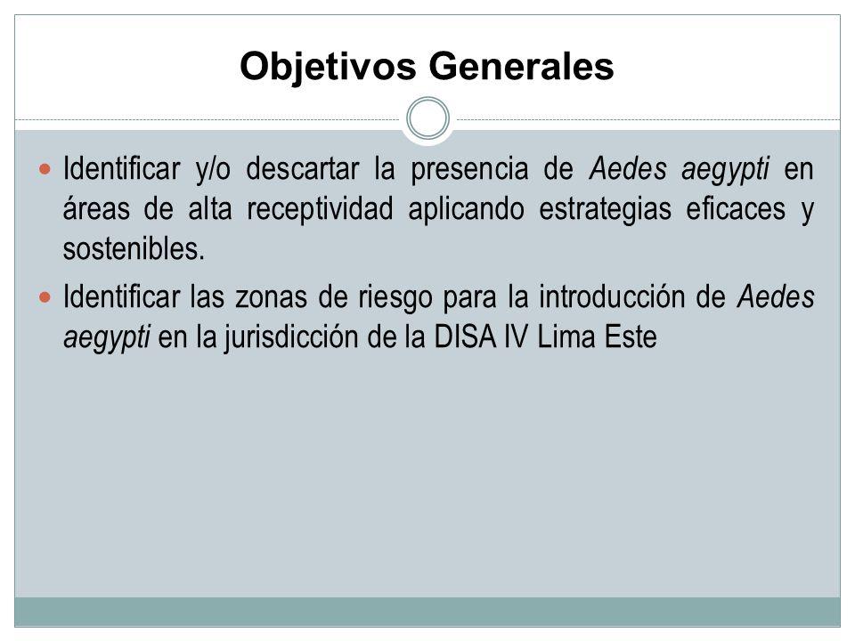 Objetivos Generales Identificar y/o descartar la presencia de Aedes aegypti en áreas de alta receptividad aplicando estrategias eficaces y sostenibles