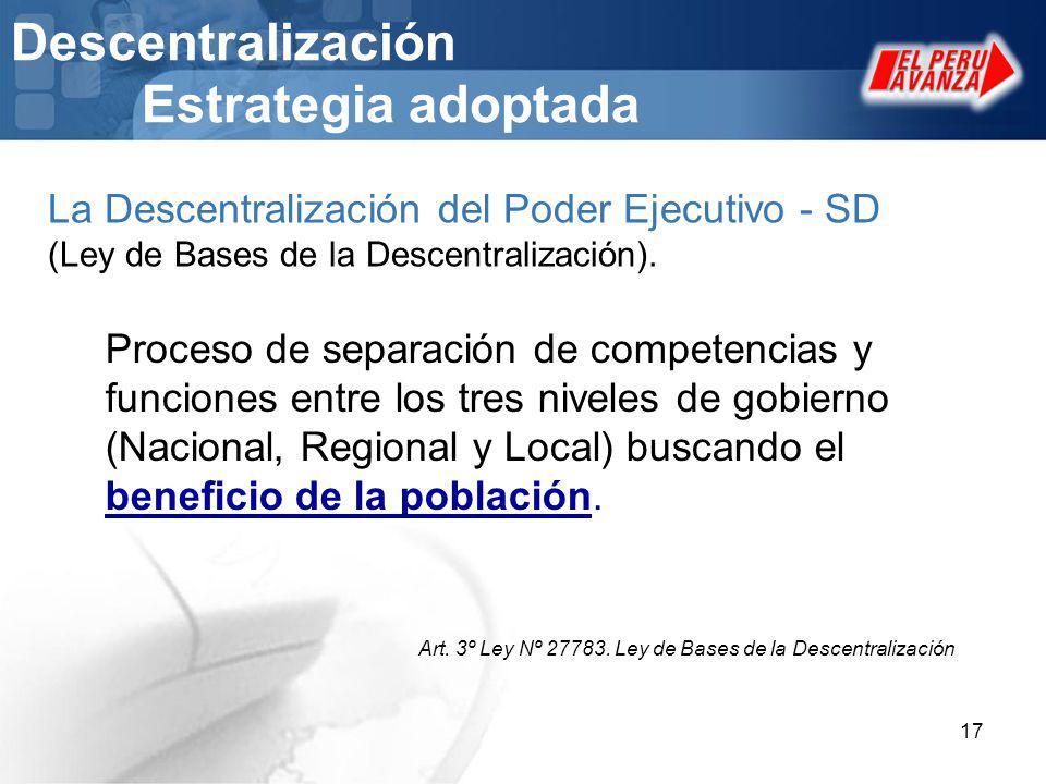 17 Descentralización Estrategia adoptada Proceso de separación de competencias y funciones entre los tres niveles de gobierno (Nacional, Regional y Lo