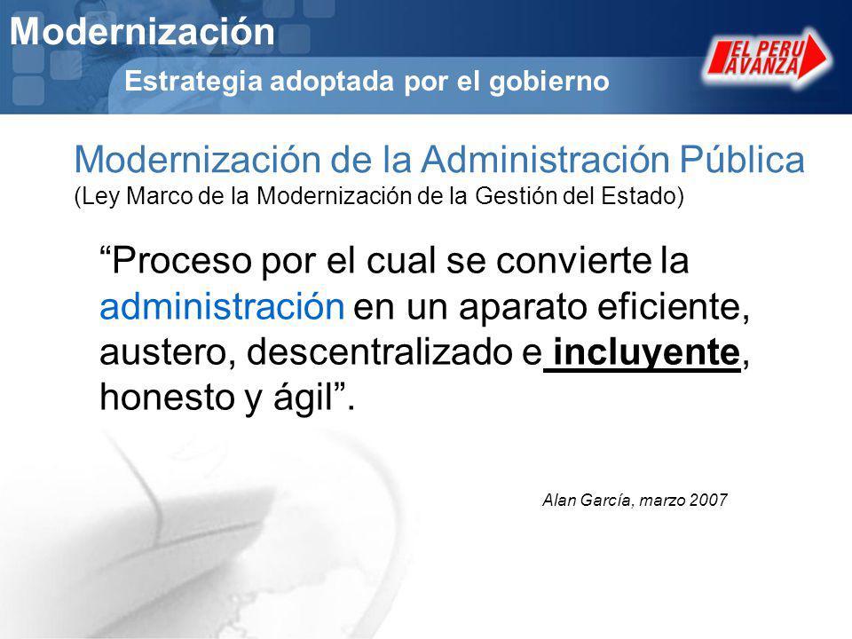 Modernización Estrategia adoptada por el gobierno Modernización de la Administración Pública (Ley Marco de la Modernización de la Gestión del Estado)