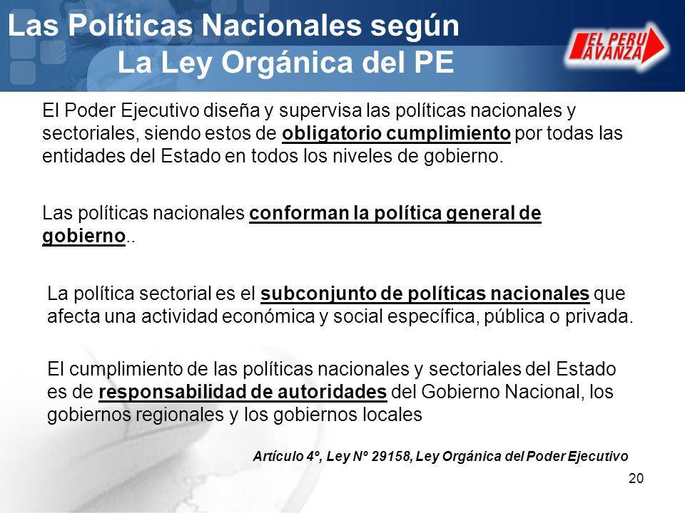 20 Las Políticas Nacionales según La Ley Orgánica del PE El Poder Ejecutivo diseña y supervisa las políticas nacionales y sectoriales, siendo estos de