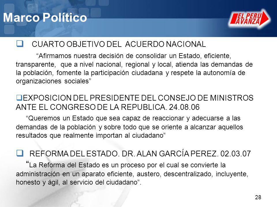 28 Marco Político CUARTO OBJETIVO DEL ACUERDO NACIONAL Afirmamos nuestra decisión de consolidar un Estado, eficiente, transparente, que a nivel nacion