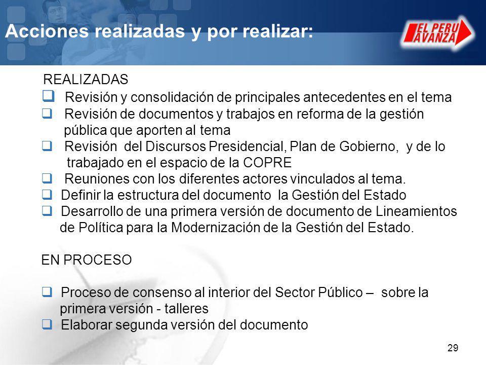 29 Acciones realizadas y por realizar: Revisión y consolidación de principales antecedentes en el tema Revisión de documentos y trabajos en reforma de