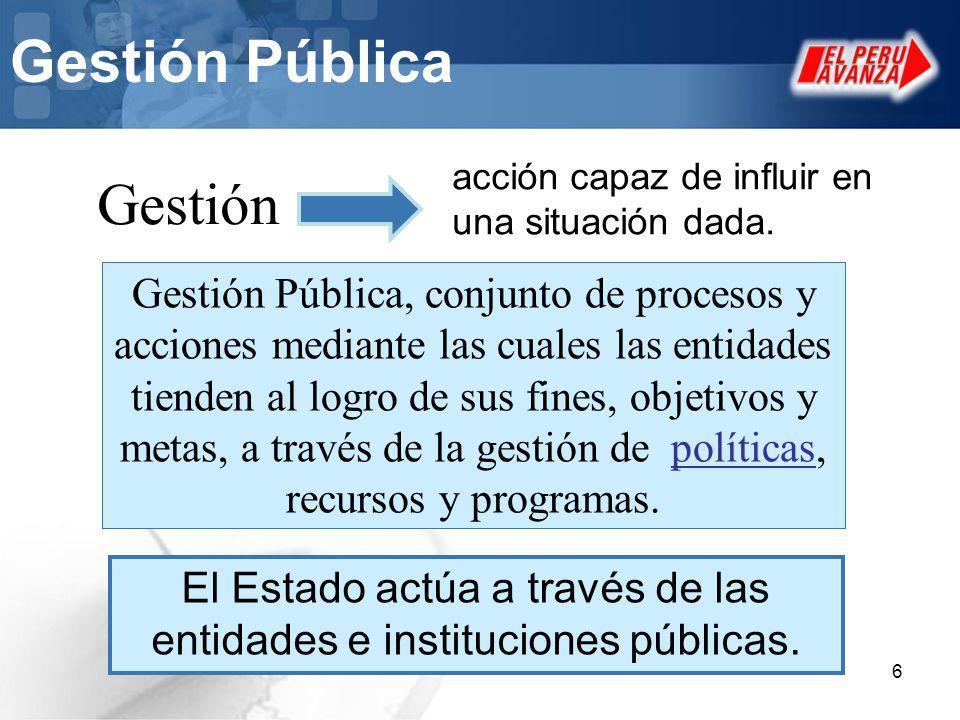 6 Gestión Pública Gestión Pública, conjunto de procesos y acciones mediante las cuales las entidades tienden al logro de sus fines, objetivos y metas,