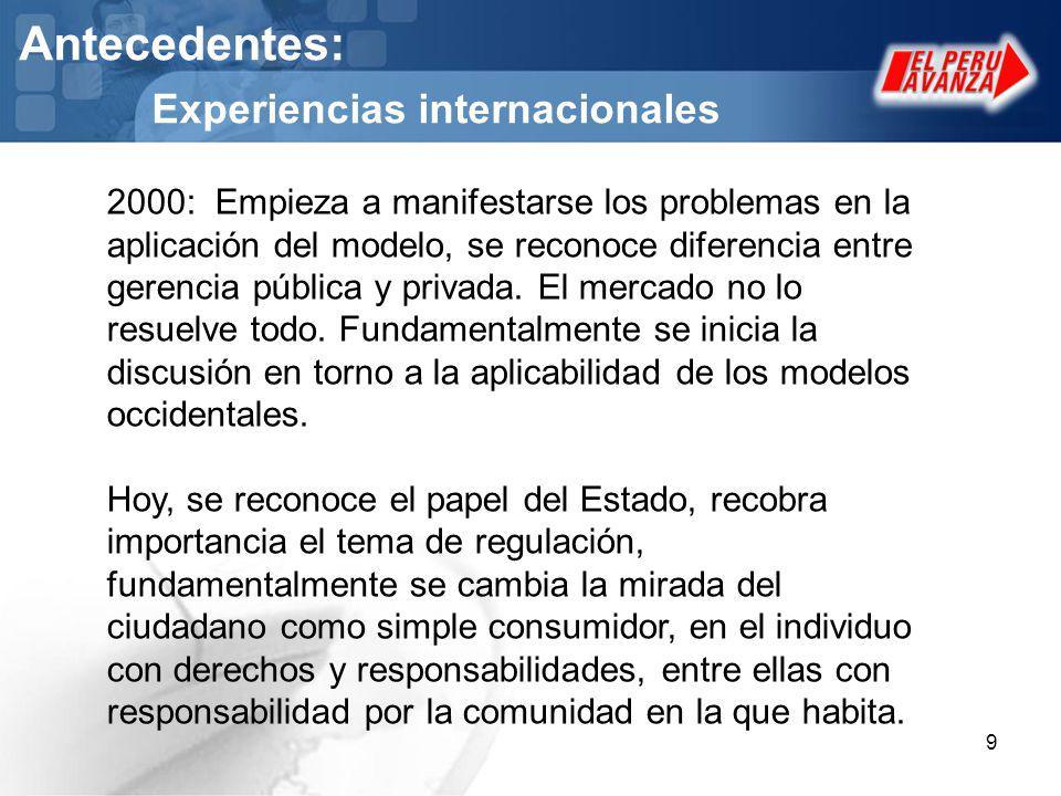 9 Antecedentes: Experiencias internacionales 2000: Empieza a manifestarse los problemas en la aplicación del modelo, se reconoce diferencia entre gere