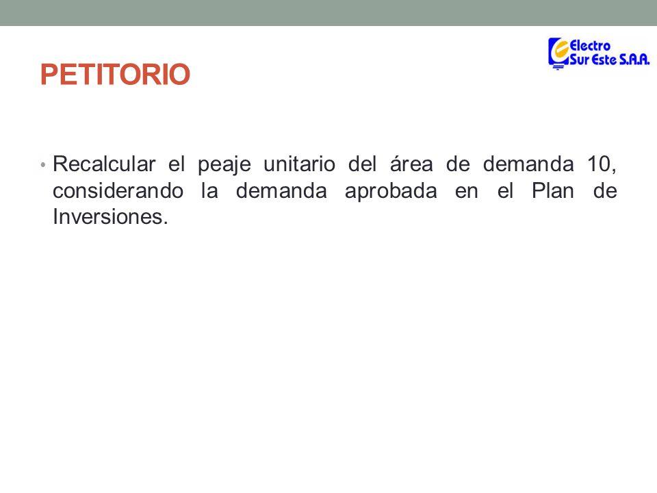 ANTECEDENTES El informe Técnico Nº 0283-2012-GART, el cual sustenta la Resolución OSINERGMIN Nº 151-2012-OS/CD, que aprobó el Plan de Inversiones, presenta en su cuadro Nº 6.2, la siguiente demanda aprobada para el área de demanda 10.